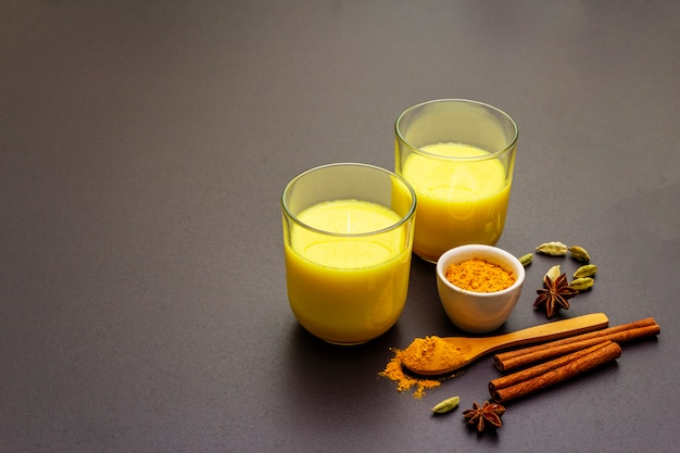 Golden turmeric milk Premium Photo