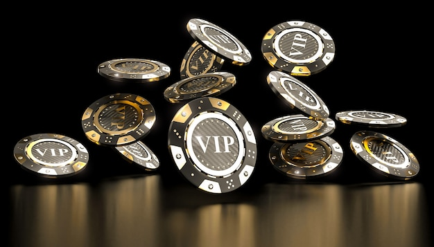 Premium Photo | Golden vip casino chip 3d