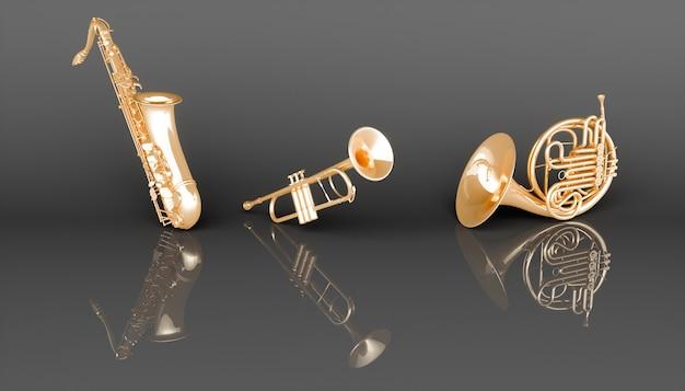Музыкальные инструменты золотой ветер на черном фоне, 3d иллюстрация Premium Фотографии