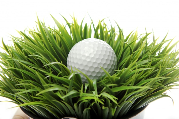 Golf ball in grass Free Photo