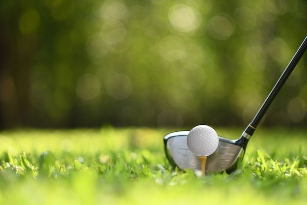 Golf ball on green grass ready to be struck on golf course Premium Photo