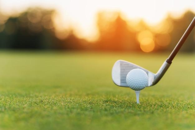 Golf ball on tee playing sports on green fairway. Premium Photo