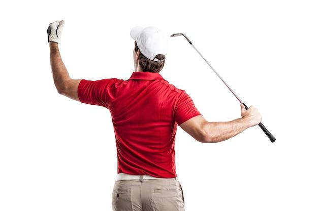 흰색 공간에 축 하하는 빨간 셔츠에서 골프 선수. 프리미엄 사진