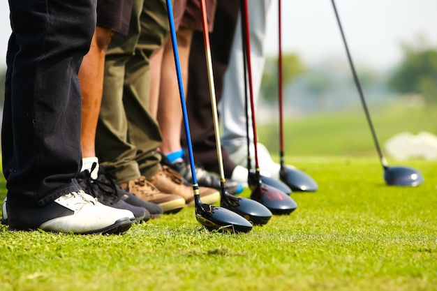 Golfer and golf driver head  in a row on green Premium Photo