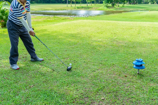Golfer preparing for a hitting by driver from tee in a golf course. Premium Photo