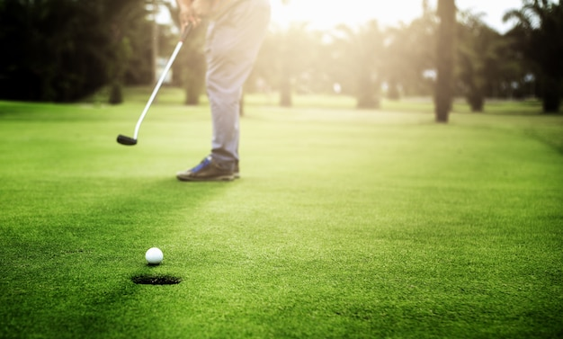 Golfer putting golf ball approach to the golf hole on the green golf Premium Photo