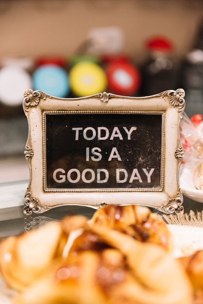 Good day sign pastry shop Free Photo
