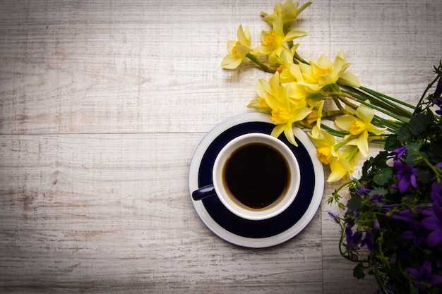 Good Morning Coffee With Spring Flowers Photo Premium Download