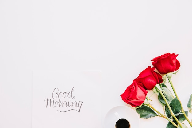 good morning concept with roses photo free download