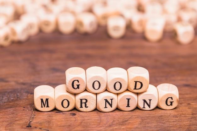 Good morning letter wooden blocks Free Photo