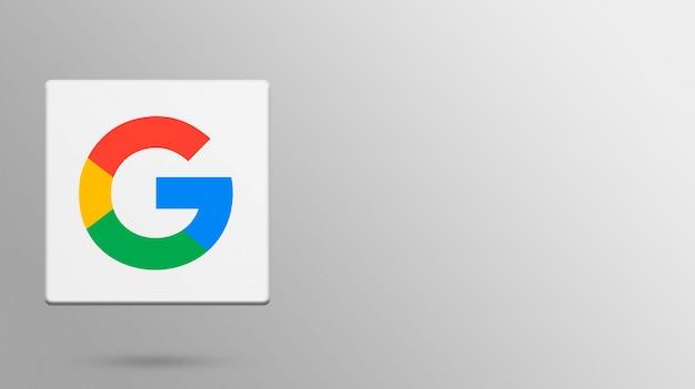 3dプラットフォーム上のgoogleロゴ Premium写真