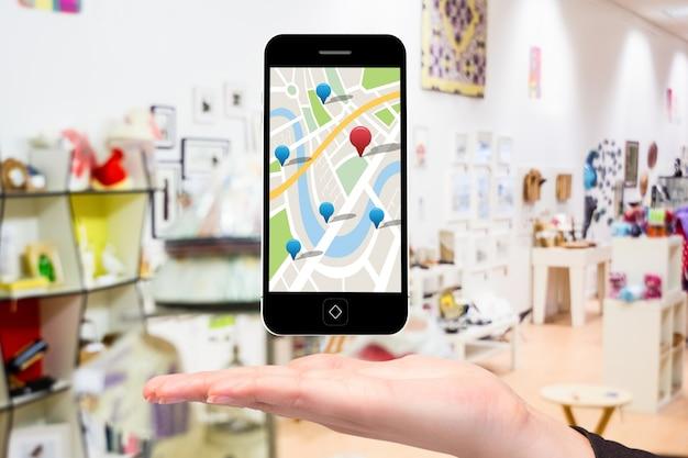 Googleマップを使用したモバイル 無料写真