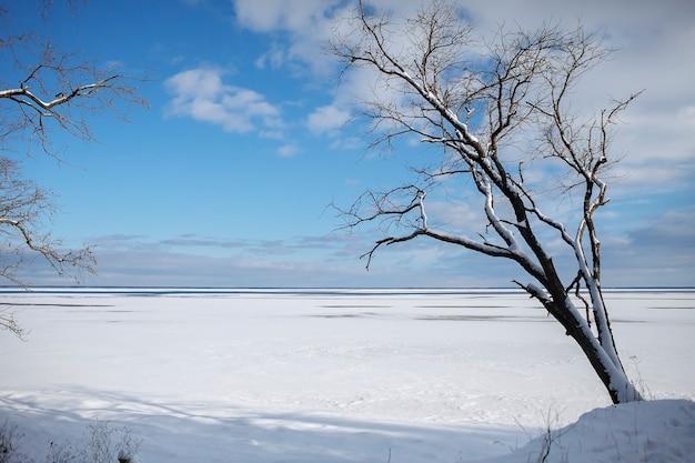 砂漠のような氷の凍った湖のゴージャスな風景、冬の夕日、背景、コピースペース Premium写真