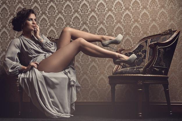 Gorgeous woman in beautiful dress Premium Photo