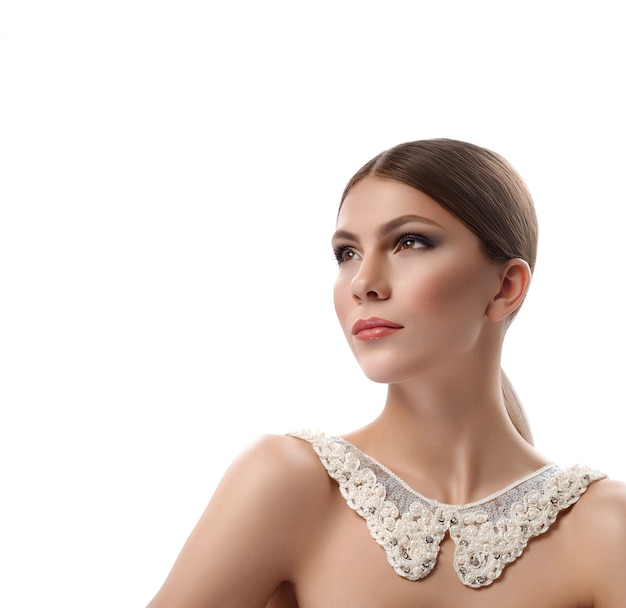 Gorgeous woman wearing lacey collar necklace isolated on white Premium Photo
