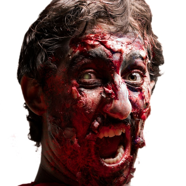 Gory zombie with open mouth Free Photo