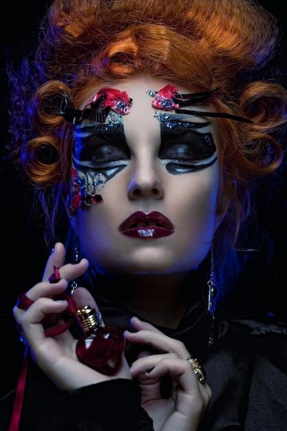 Gothic witch. dark woman.halloween picture. Premium Photo