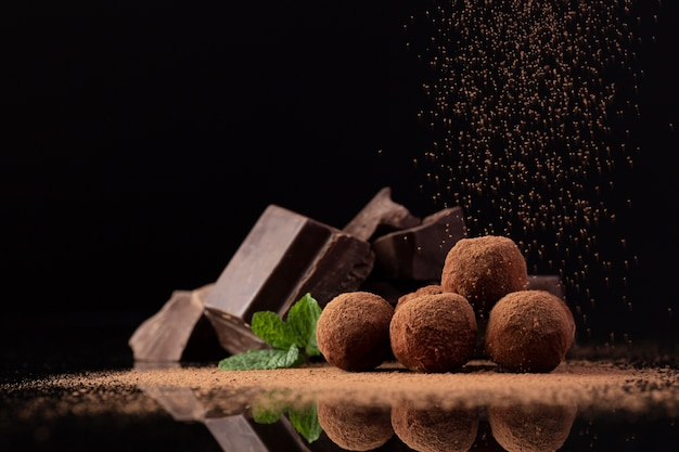 Gourmet truffles with cocoa Free Photo