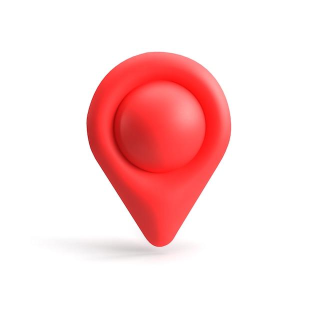 赤いgpsポインター。赤いマップポインター。分離されました。三次元レンダリング。 3 dのレンダリング。 Premium写真