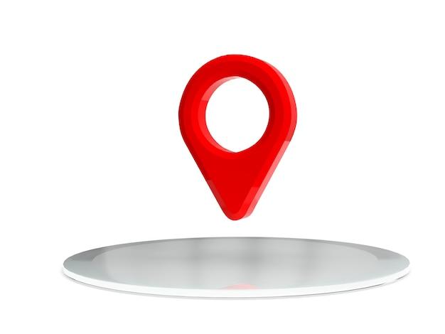 表彰台に赤いマップポインター。赤いgpsポインター。分離されました。三次元レンダリング。 3 dレンダリング図。 Premium写真