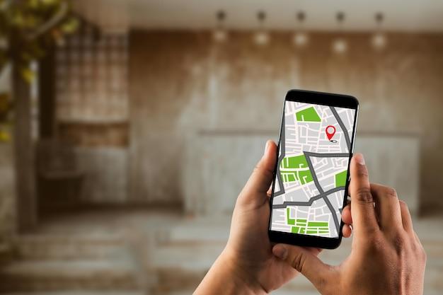 ルートへのgpsマップ宛先ネットワーク接続場所gpsアイコン付きのストリートマップナビゲーション Premium写真