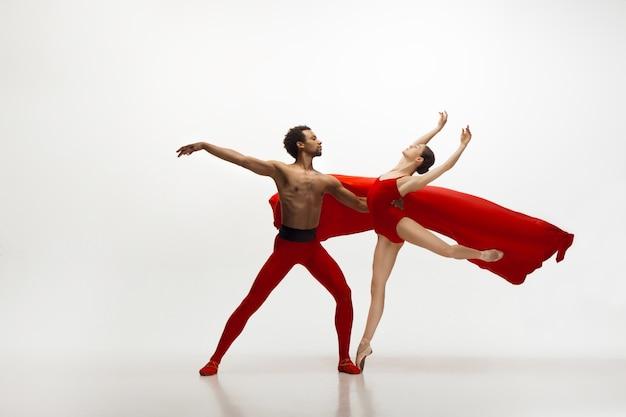 우아한 클래식 발레 댄서 흰색 벽에 고립 된 춤. 은혜, 예술가, 움직임, 행동 및 움직임 개념. 무료 사진