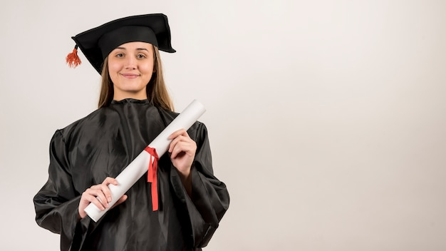 Graduate being proud with copy space Premium Photo