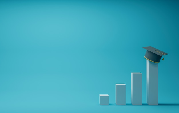 Graduation cap on bar chart, blue background Premium Photo