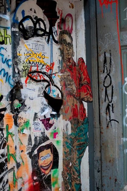 Граффити, нарисованные на стене в манхэттене, нью-йорк, сша Premium Фотографии