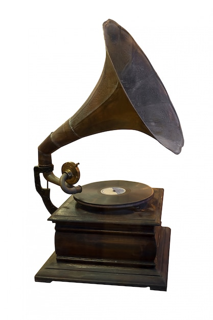 Gramophone player and disc Premium Photo
