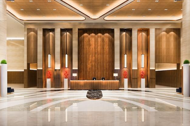 천장이 높은 그랜드 럭셔리 호텔 리셉션 홀과 라운지 레스토랑 프리미엄 사진