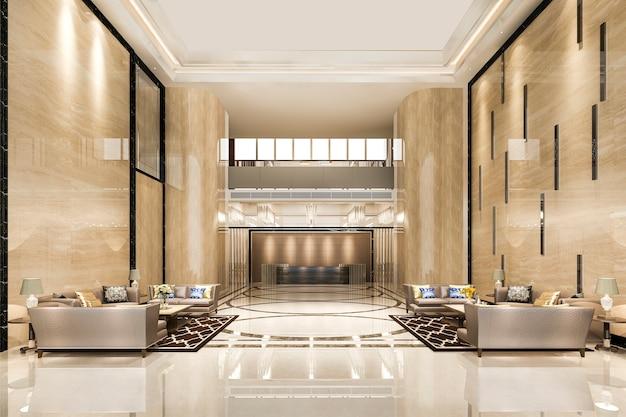 그랜드 럭셔리 호텔 리셉션 홀 입구 및 라운지 레스토랑 프리미엄 사진