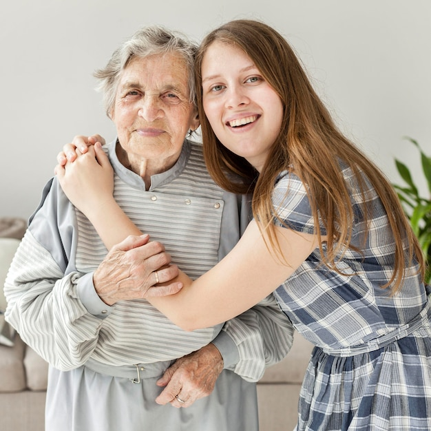 Granddaughter happy to spend time with grandmother Free Photo