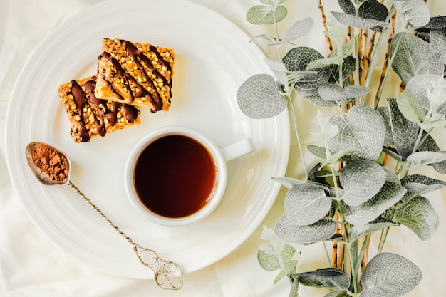 Granola bars cake, healthy homemade snack, superfood bars with cranberry, pumpkin seeds Premium Photo