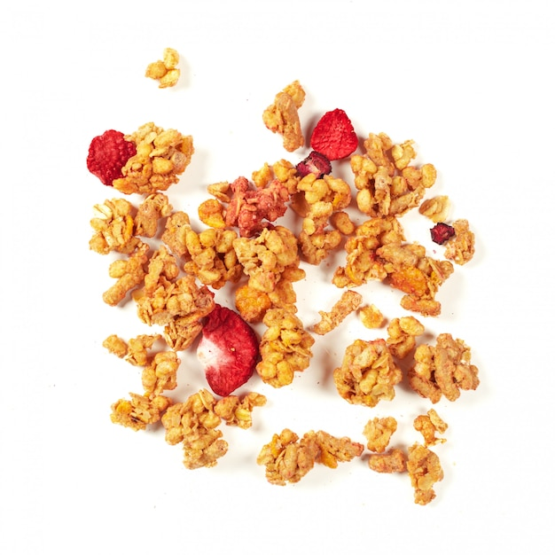 Granola isolated on white Premium Photo