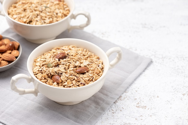 Granola, oatmeal with almond Premium Photo