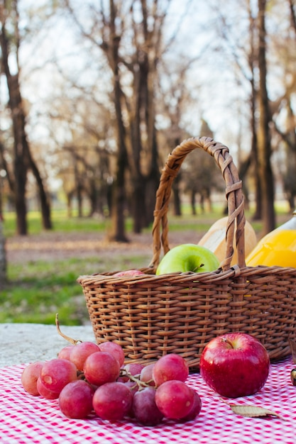 Grapes on table cloth next to picnic basket Free Photo