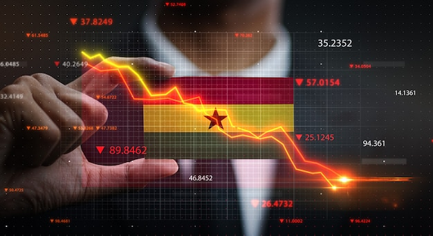 Graph falling down in front of ghana Premium Photo