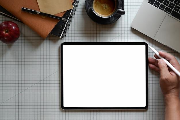Graphic designer working with digital tablet in studio workplace Premium Photo