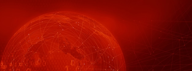 Graphical block chain red theme background with connection lines and binary codes Premium Photo