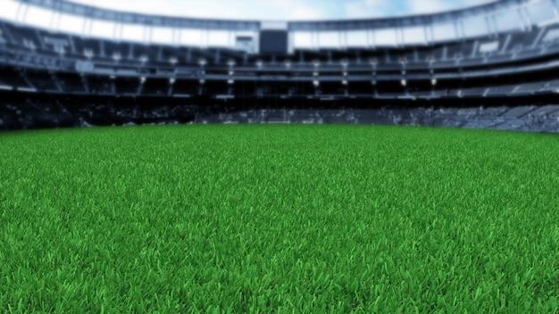 Grass stadium 3d render Premium Photo