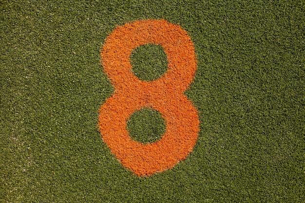 Struttura di erba con numero otto Foto Gratuite