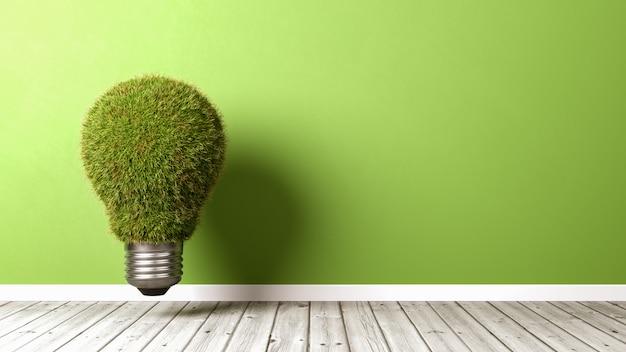 Grassy light bulb on wooden floor Premium Photo