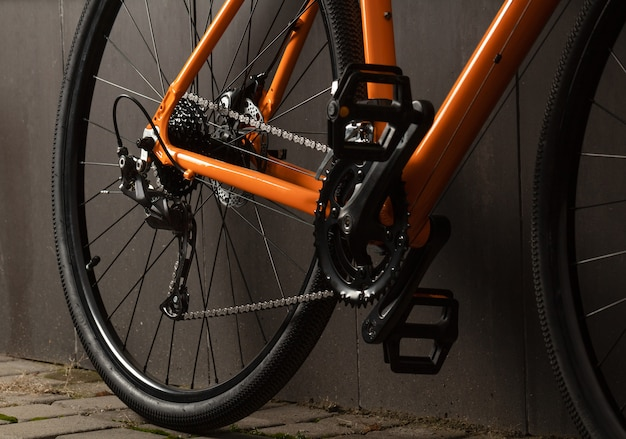 Gravel bicycle. close up transmission of gravel bicycle for offroad cycling. Premium Photo