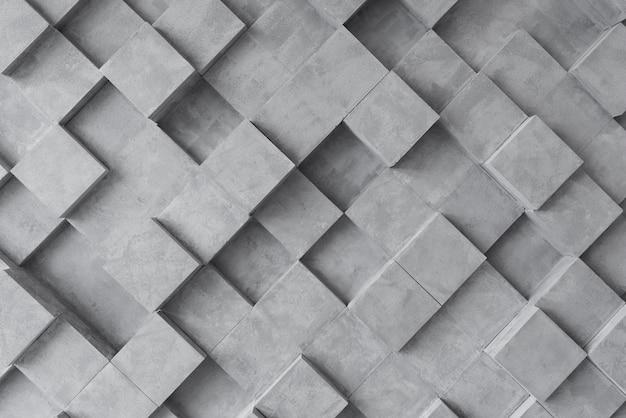 Серый 3d фон с квадратами Premium Фотографии