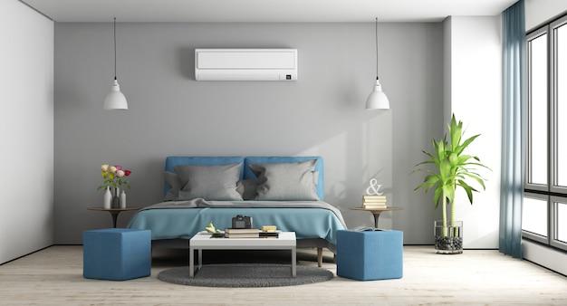 Gray and blue master bedroom Premium Photo