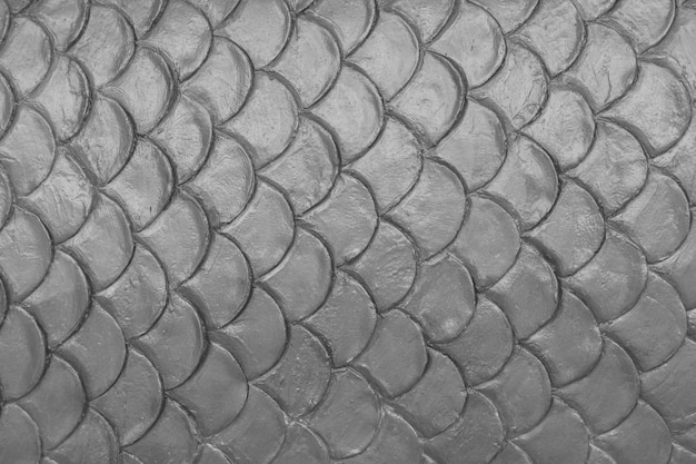 Gray cement plaster in fish skin curve pattern wall background. Premium Photo