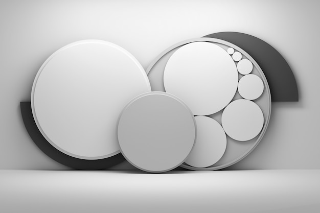 Gray composition with circles Premium Photo