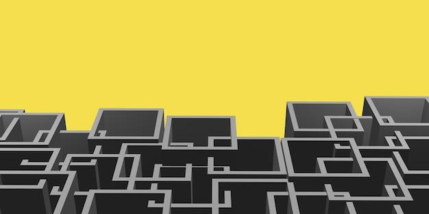 黄色の背景に灰色の複雑な正方形のフレーム Premium写真