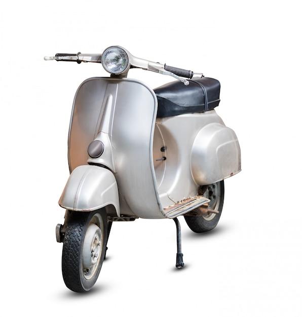 Gray retro motorcycle Premium Photo
